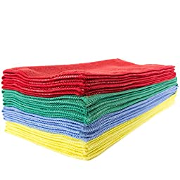 Zwipes Assorted Colors Premium Microfiber Commercial Cleaning Cloths (16 in. x 16 in.), Pack of 12