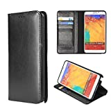 Moon Monkey Luxury Genuine Leather Business Series Stand Function Wallet Design Protective Case for Samsung Galaxy Note 3 (MM419) (Black)