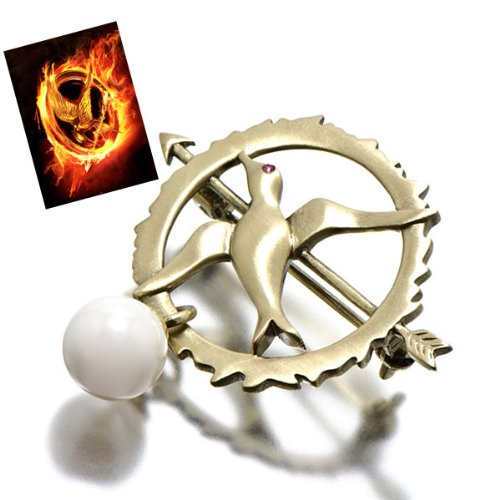 Hunger Games Inspired Jewelry: Mockingjay Pin with Ruby CZ & Faux Pearl Hunger Games Inspired Jewel