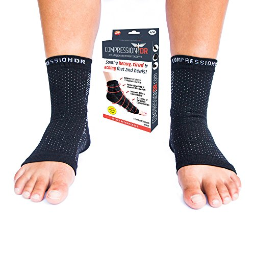 Compression Foot Sleeves by CompressionDR - Soothe & Relieve Tired Aching Feet & Symptoms of Plantar Fasciitis - Instant Arch, Heel, Ankle, Achilles Support (Black, L/XL) - Stop Suffering, Order Today!