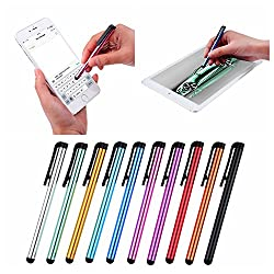 Stylus Bundle, 10 Pack, Multicolor - For All Phones and Tablets with Capacitive Touch Screens, like iPhone, iPad, Galaxy Tab, Note, S6 and S6 Edge - Perfect for Selecting, Drawing, Texting and Swiping