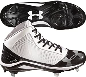 Under Armour 1235296 Yard Mid Cleat - White Black by Under Armour