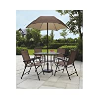 Sand Dune Folding Patio Dining Set & Umbrella Seats 4 Outdoors