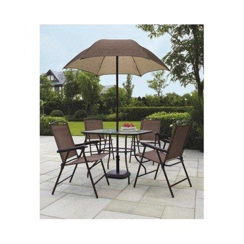 Sand Dune Folding Patio Dining Set & Umbrella Seats 4 Outdoors New