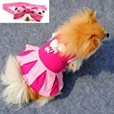 Pet Clothes Hot Pink Dog Skirt Cute Lollipop Picture Printed Dog Clothing Small Dogs Clothes Cotton Dog Costume + 1XBowtie(S)