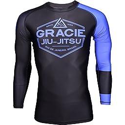 Gracie Jiu-Jitsu Long Sleeve Ranked Rashguard - Blue - Large