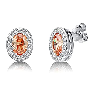 BERRICLE Sterling Silver Oval Champagne Cubic Zirconia CZ Halo Fashion Stud Earrings