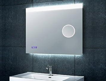 miroir de salle de bain bain avec miroir de maquillage horloge 60x80cm cuisine. Black Bedroom Furniture Sets. Home Design Ideas