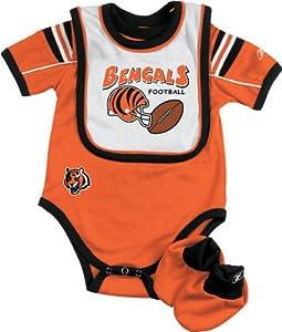 Cincinnati Bengals Infant Creeper, Bib and Bootie Set