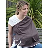 ORGANIC NursEase Breastfeeding Shawl- Organic Medium Brown with Floral Trim