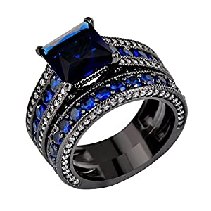 JunXin Two Pieces Black Gold Bridal Wedding Set Princess Cut Sapphire Blue Main Stone Size5/6/7/8/9/10/11(7)
