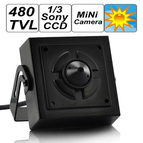 SecurityIng - Mini Surveillance Pinhole Security Camera, 1/3 Inch Sony CCD Sensor, 480 TV Lines, Covert CCTV Surveillance Camera Can Be Hidden Anywhere In Home / Office
