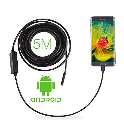 GBB Android OTG micro USB endoscopio, fotocamera 8,5 millimetri 2.0 Megapixel CMOS HD periscopio del USB endoscopio digitale impermeabile Micro ispezione Snake con 6 LED e 5 Meter Cable