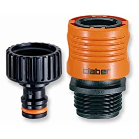 Claber 8458 Faucet To Garden Hose Quick Connect Set