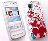 FLASH SUPERSTORE LCD SCREEN PROTECTOR AND RED HEARTS SUPER SLIM CLIP ON PROTECTION CASE/COVER/SKIN FOR NOKIA 5230