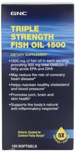 GNC Triple Strength Fish Oil 1500 mg, 120 Soft Gels by GNC (Triple Strength Fish Oil 1500 compare prices)