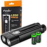 FENIX LD50 1800 Lumen Dual CREE XM-L2 LED slim Flashlight with 2 X EdisonBright CR123A Lithium batteries