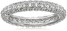 buy Sterling Silver All-Around Pave Cubic Zirconia Ring (1.4 Cttw), Size 6