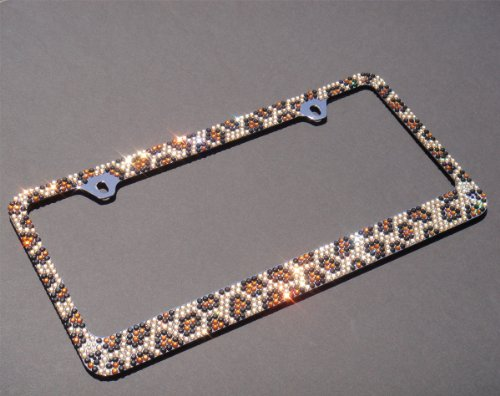 Premium Bling Brown/Black Leopard(Brown Cap-A Type) Crystal Diamond Rhinestone-Metal Chrome License Plate Frame