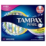 Tampax Pearl Plastic Tampons, Mutlipack, Light/Regular/Super Absorbency, Unscented, 50 Count (Packaging May Vary)