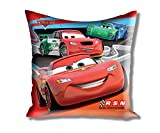 "Disney Cars Filled Large Satin Polyester Cushion - 16""x16"", Red"