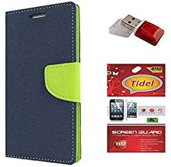 Tidel Premium Table Talk Fancy Diary Wallet Flip Cover Case for Samsung Galaxy J5 (Blue) With Tidel Screen Guard & Card Readar