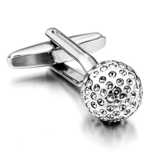 Justeel Men Rhodium Plated Cufflinks Silver Shirt Wedding Golf Golfing , with Gift Box, (Width x Length: 0.39 x 0.39 inches)