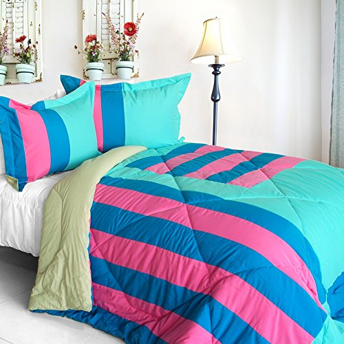 [Great Hometown] Quilted Patchwork Down Alternative Comforter Set (Twin Size) front-909082