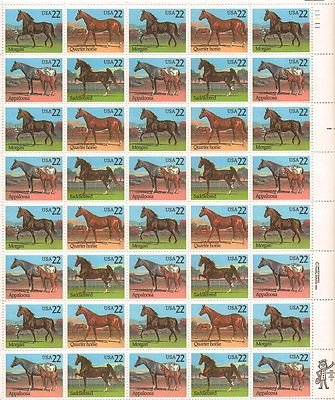 Horses Sheet of 50 x 22 Cent US Postage Stamps NEW Scot 2155-58