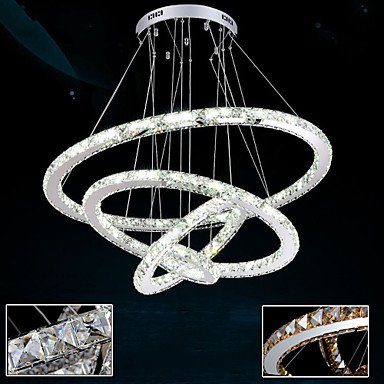 LED Crystal Pendant Lights Ceiling Chandelier Lighting Clear or Amber Crystal Round 4 Rings 20CM 40CM 60CM 80CM Cool White