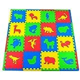Joyin Toy Farm Animals, Safari Animals, Sea life, Dinosaur Kids Puzzle Play Mat, 16 Tiles and Edges, 12'' X 12''