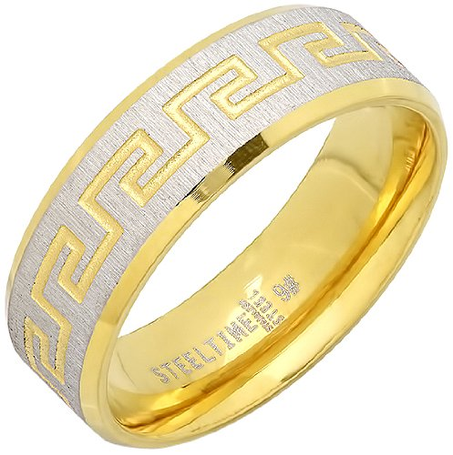 Men-s-Stainless-Steel-18-K-Gold-Plated-with-Greek-Key-Design-Ring-Size-11