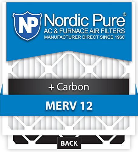 Nordic Pure 16x25x5 Lennox X6670 Replacement MERV 12 Plus Carbon AC Furnace Air Filters, Quantity 4