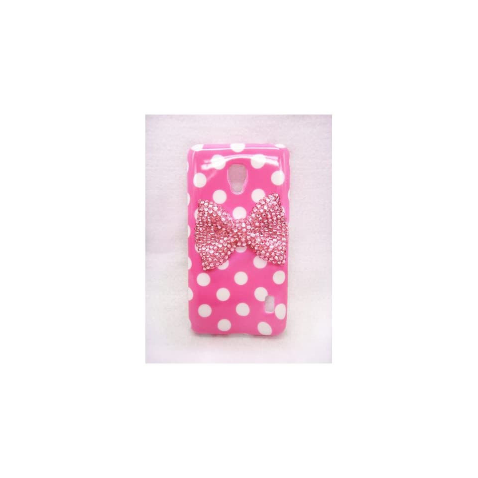 Lovely Cute 3D Bling Special Party Dot Pattern Case Cover For Smart Mobile Phones (Pink Bow, LG Optimus F6 MS500 D500 MetroPCS T Mobile)