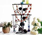 MyGift® Vintage Black Rose and Leaf Design Metal Bracelet Necklace Hanger Ring Holder Jewelry Organizer
