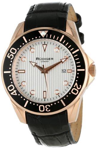 Rudiger Men's R2000-09-001L Chemnitz Rose Gold IP Coated Case Rotating Bezel Silver Luminous Dial Watch