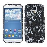 kwmobile TPUシリコンケース フラワー 壁紙デザイン Samsung Galaxy S4用 白色黒色 - 高品質ソフトTPU製のスタイリッシュなデザイナーケース