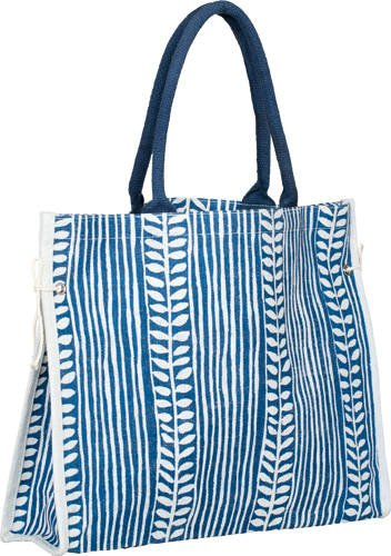 Carrygreen Jute Burlap Tote Navy Blue Print Spring Bags with side tie and cotton webbed handles at Sears.com