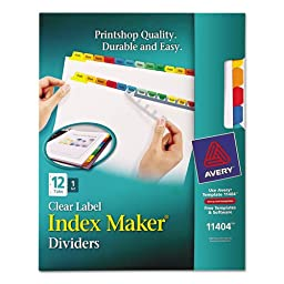 Avery - Index Maker Dividers, Multicolor 12-Tab, Letter 11404 (DMi ST