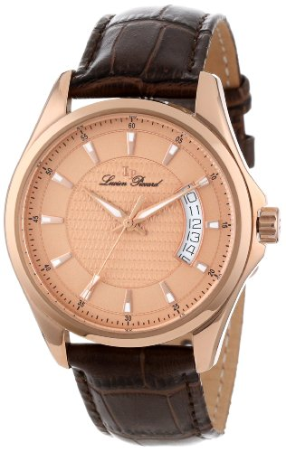 Lucien Piccard Men's 98660-RG-09 Excalibur Rose Textured Dial Brown Leather Watch