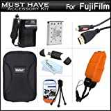 Must Have Accessory Kit For Fuji Fujifilm FinePix XP60, XP70 Waterproof Digital Camera Includes Extended Replacement (1000 maH) NP-45A, NP-45s Battery + Ac/Dc Travel Charger + Micro HDMI Cable + Floating Strap + USB Card Reader + Case + Mini Tripod + More