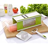 Nuliah® 4-Sided Hand-held Grater Mandoline Slicer Set 5 in 1 with Tray and Peeler, Kitchen Vegetable Fruit Julienne Slicer, Stainless Steel Sharp Blade