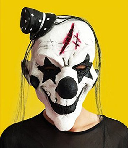 Coki Funny black and white clown mask Halloween horror spoof the whole person masquerade dress prop (Black Person Mask compare prices)