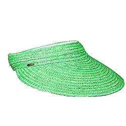 Dorfman Pacific Scala Straw Braid Velcro Visor (Kelly Green)