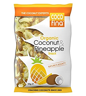 Cocofina Organic Coconut and Pineapple Chips Snack 55 g (Pack of 4)