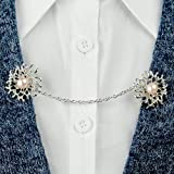 Evelots Flower With Pearl Sweater Clip, Cardigan Collar Clip, Silver-Toned