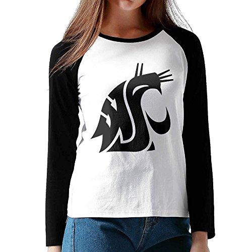 [NORAL Women's University Of Washington Long Sleeve Baseball T Shirt Raglan Shirt Black Size S] (Arrest Shoes Adult)