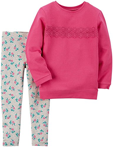 Carter's Baby Girls 2 Pc Playwear Sets, Bright Pink, 18M
