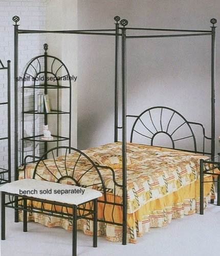 Full Size Black Sunburst Metal Frame Canopy Bed