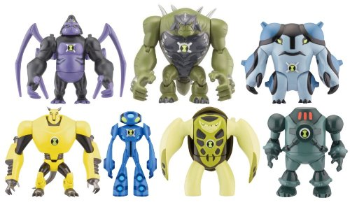 Picture of Bandai Ben 10 Ultimate Alien Set of 7 - Ultimate Spidermonkey, Terraspin, NRG, Ultimate Echo Echo Ultimate Cannonbolt, Armodrillow, Ultimate Humungousaur Toy Figure Set (B004FQRTUO) (Ben 10 Action Figures)